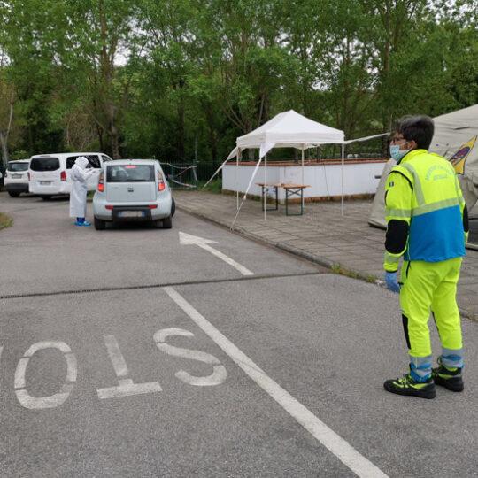 Tamponi covid parcheggio Misericordia